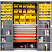 Security Work Center & Storage Cabinet With Shelves, 6 Drawers & 68 Yellow Bins