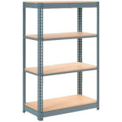 """Extra Heavy Duty Shelving 36""""W x 18""""D x 60""""H With 4 Shelves - Wood Deck - Gray"""
