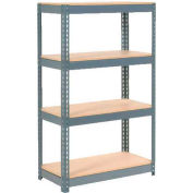 """Extra Heavy Duty Shelving 36""""W x 24""""D x 60""""H With 4 Shelves - Wood Deck - Gray"""