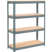 "Extra Heavy Duty Shelving 48""W x 12""D x 60""H With 4 Shelves - Wood Deck - Gray"