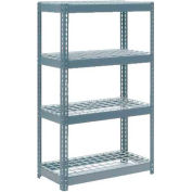 """Extra Heavy Duty Shelving 36""""W x 18""""D x 60""""H With 4 Shelves - Wire Deck - Gray"""