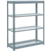 "Heavy Duty Shelving 48""W x 24""D x 60""H With 4 Shelves - Wire Deck - Gray"