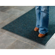 Deep Cleaning Ribbed 3 Foot Wide Cut Length Entrance Mat Blue