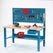 "60"" W x 30"" D Complete Industrial Workbench, Plastic Laminate Square Edge - Blue"