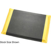 "Diamond Plate Ergonomic Mat 9/16"" Thick 2'W, 75' Roll Black/Yellow Border"