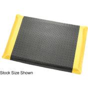 "Diamond Plate Ergonomic Mat 9/16"" Thick 3'W, 75' Roll, Black/Yellow Border"