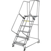 "Perforated 16""W 6 Step Steel Rolling Ladder 14""D Top Step"