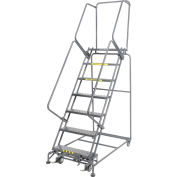 """Perforated 24""""W 7 Step Steel Rolling Ladder 14""""D Top Step- Lock Style B"""
