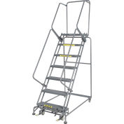 "Grip 24""W 7 Step Steel Rolling Ladder 14""D Top Step- Lock Type B"