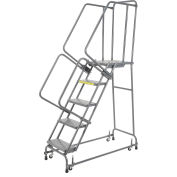 """Perforated 24""""W 5 Step Steel Rolling Ladder 21""""D Top Step"""