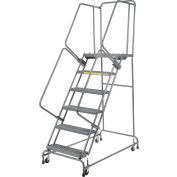 """Perforated 24""""W 6 Step Steel Rolling Ladder 21""""D Top Step- Lock Type A"""