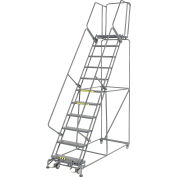 """Perforated 24""""W 11 Step Steel Rolling Ladder 21""""D Top Step"""