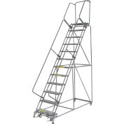 "Perforated 24""W 12 Step Steel Rolling Ladder 21""D Top Step"