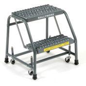 "Grip 16""W 2 Step Steel Rolling Ladder 20""D Top Step"