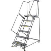 "Grip 24""W 6 Step Steel Rolling Ladder 21""D Top Step- Lock Type B"