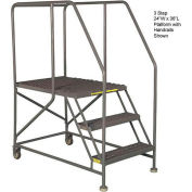 "Mobile 5 Step Steel 24""W X 36""L Work Platform Ladder With Handrails"