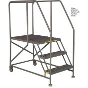 "Mobile 4 Step Steel 24""W X 48""L Work Platform Ladder With Handrails"