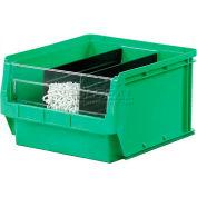 Quantum Magnum Plastic Stackable Storage Bin QMS531 12-3/8 x 19-3/4 x 5-7/8 Green - Pkg Qty 6