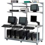 "72"" Computer LAN Workstation, 72""W x 30""D x 74""H, Gray, Unassembled"