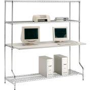 "Nexel™ 4-Shelf Wire Computer LAN Workstation, 60""W x 30""D x 74""H, Chrome"