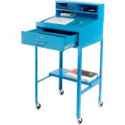 """23""""W x 20""""D Open Leg Mobile Shop Desk - Blue"""