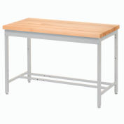 "48""W x 24""D Euro Style Production Workbench - Maple Butcher Block Square Edge - Gray"