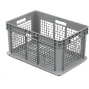 "Akro-Mils Straight Wall Container 37612 Mesh Sides & Base 23-3/4""L x 15-3/4""W x 12-1/4""H, Gray - Pkg Qty 3"