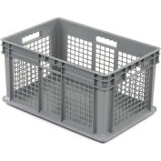 """Akro-Mils Straight Wall Container 37672 Mesh Sides Solid Base 23-3/4""""L x 15-3/4""""W x 12-1/4""""H, Gray - Pkg Qty 3"""