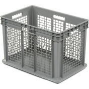 """Akro-Mils Straight Wall Container 37676 Mesh Sides Solid Base 23-3/4""""L x 15-3/4""""W x 16-1/8""""H, Gray - Pkg Qty 2"""