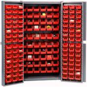 "Bin Cabinet Deep Door with 156 Red Bins, 16-Gauge Assembled Cabinet 38""W x 24""D x 72""H, Gray"