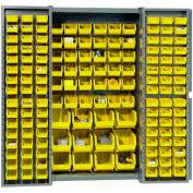 "Bin Cabinet Deep Door with 144 Yellow Bins, 16-Gauge Assembled Cabinet 38""W x 24""D x 72""H, Gray"