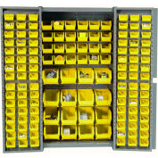 "Bin Cabinet Deep Door with 136 Yellow Bins, 16-Gauge Assembled Cabinet 38""W x 24""D x 72""H, Gray"