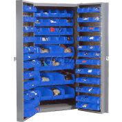 """Bin Cabinet Deep Door with 132 Blue Bins, 16-Gauge Unassembled Cabinet 38""""W x 24""""D x 72""""H, Gray"""