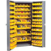 """Bin Cabinet Deep Door with 132 Yellow Bins, 16-Gauge Unassembled Cabinet 38""""W x 24""""D x 72""""H, Gray"""