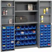 """Bin Cabinet Deep Door with 72 Blue Bins, Shelves, 16-Ga. Assembled Cabinet 38""""W x 24""""D x 72""""H, Gray"""