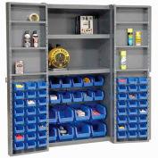 """Bin Cabinet Deep Door with 68 Blue Bins, Shelves, 16-Ga. Assembled Cabinet 38""""W x 24""""D x 72""""H, Gray"""