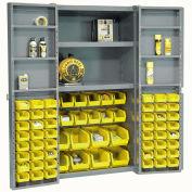 """Bin Cabinet Deep Door with 68 Yellow Bins, Shelves, 16-Ga Assembled Cabinet 38""""W x 24""""D x 72""""H, Gray"""