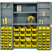 "Bin Cabinet Deep Door with 64 Yellow Bins, Shelves, 16-Ga Assembled Cabinet 38""W x 24""D x 72""H, Gray"