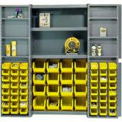 """Bin Cabinet Deep Door with 64 Yellow Bins, Shelves, 16-Ga Assembled Cabinet 38""""W x 24""""D x 72""""H, Gray"""