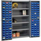 """Bin Cabinet Deep Door with 96 Blue Bins, Shelves, 16-Ga. Assembled Cabinet 38""""W x 24""""D x 72""""H, Gray"""