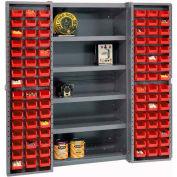"Bin Cabinet Deep Door with 96 Red Bins, Shelves, 16-Gauge Assembled Cabinet 38""W x 24""D x 72""H, Gray"