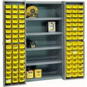 """Bin Cabinet Deep Door with 96 Yellow Bins, Shelves, 16-Ga Assembled Cabinet 38""""W x 24""""D x 72""""H, Gray"""