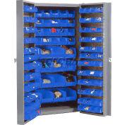 Global Industrial™ Bin Cabinet Deep Door - 144 Blue Bins, 16-Gauge Unassembled Cabinet 38x24x72