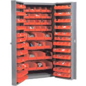Global Industrial™ Bin Cabinet Deep Door - 136 Red Bins, 16-Gauge Unassembled Cabinet 38x24x72
