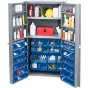 "Bin Cabinet Deep Door with 72 Blue Bins, Shelves, 16-Ga. Unassembled Cabinet 38""W x 24""D x 72""H Gray"