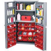 Global Industrial™ Bin Cabinet Deep Door 72 RD Bin, Shelves, 16 Ga Unassembled Cabinet 38x24x72