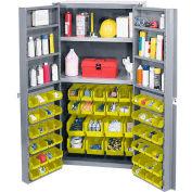 Global Industrial™ Bin Cabinet Deep Door 64 YL Bin, Shelves, 16 Ga Unassembled Cabinet 38x24x72