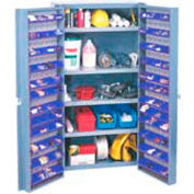 "Bin Cabinet Deep Door w/ 96 Blue Bins, Shelves, 16-Ga. Unassembled Cabinet 38""W x 24""D x 72""H, Gray"