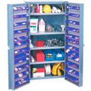 Global Industrial™ Bin Cabinet Deep Door 96 BL Bin, Shelves, 16 Ga Unassembled Cabinet 38x24x72