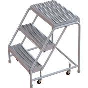 "3 Step Aluminum Rolling Ladder, 16""W Grip Step, W/O Handrails"